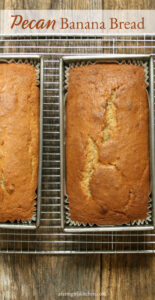 banana bread in loaf pans cooling on baking rack