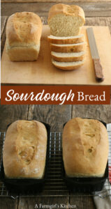 Sourdough bread in cast iron loaf pans