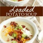 potato soup topped with crispy bacon, sour cream, shredded cheddar cheese, and thin slices of green onion, spoon on right