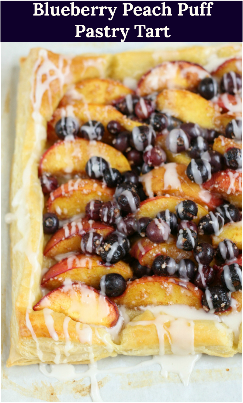 blueberry peach puff pastry tart drizzled with vanilla icing