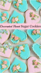 heart shaped sugar cookies in pink and mint green decorated
