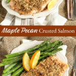 pecan crusted salmon on plate with fresh asparagus
