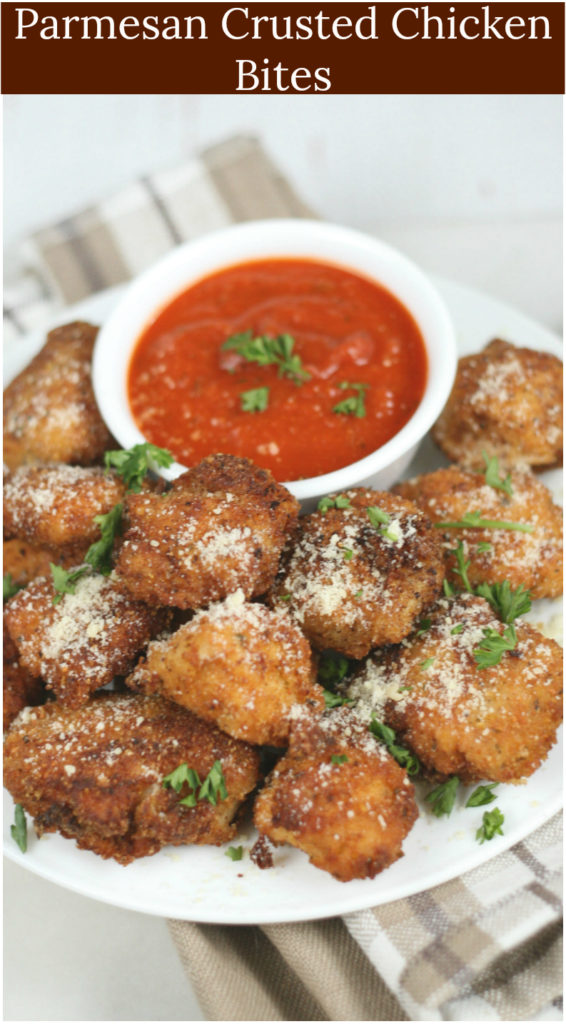 These tender Parmesan Chicken Bites in are coated in bread crumbs, cornflakes crumbs and freshly grated Parmesan cheese.