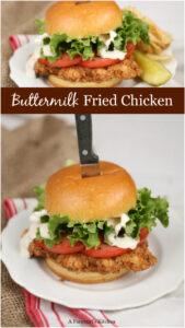 buttermilk fried chicken sandwich on brioche bun
