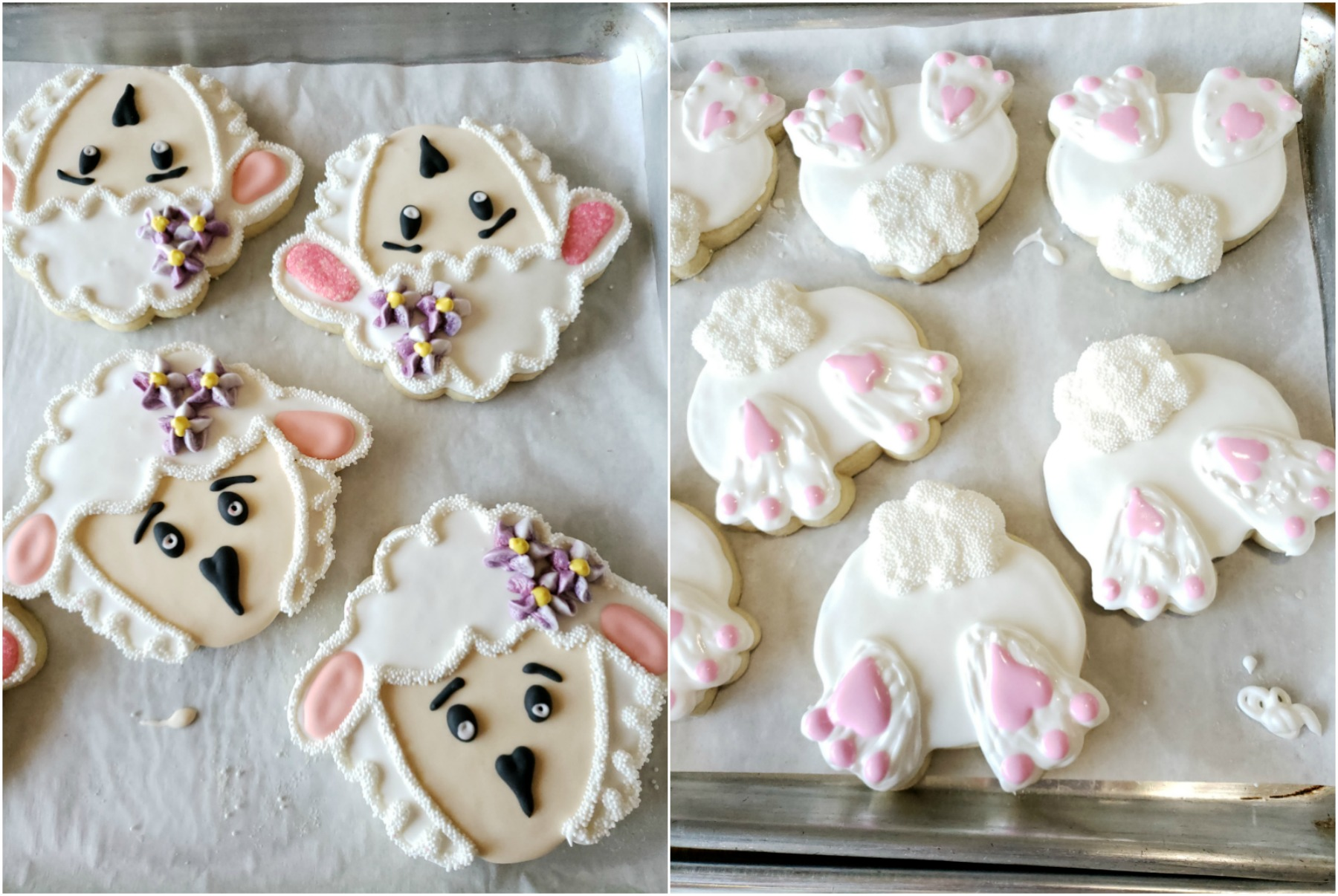 Easter decorated sugar cookies of Lamb's heads and bunny's butts.