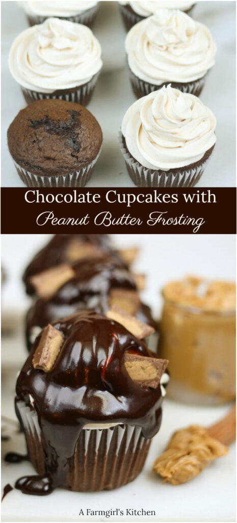 chocolate cupcakes with peanut butter frosting and chocolate ganache