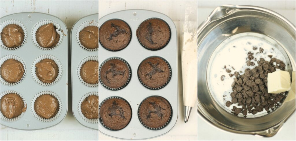 steps of chocolate cupcakes being made