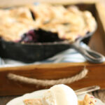 Blueberry pie in cast iron skillet