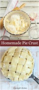 making pie crust in a ceramic mixing bowl