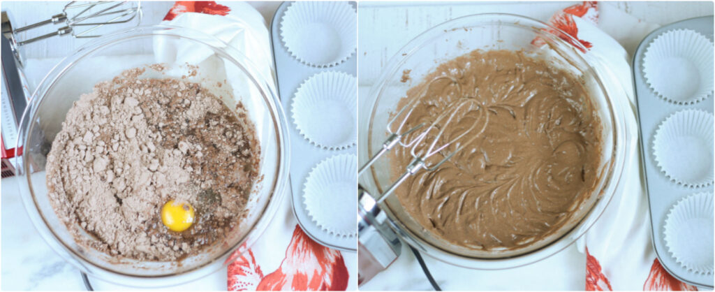 Mixing the cake mix with an electric mixer in a clear glass pyrex mixing bowl