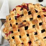 blackberry pie with lattice crust