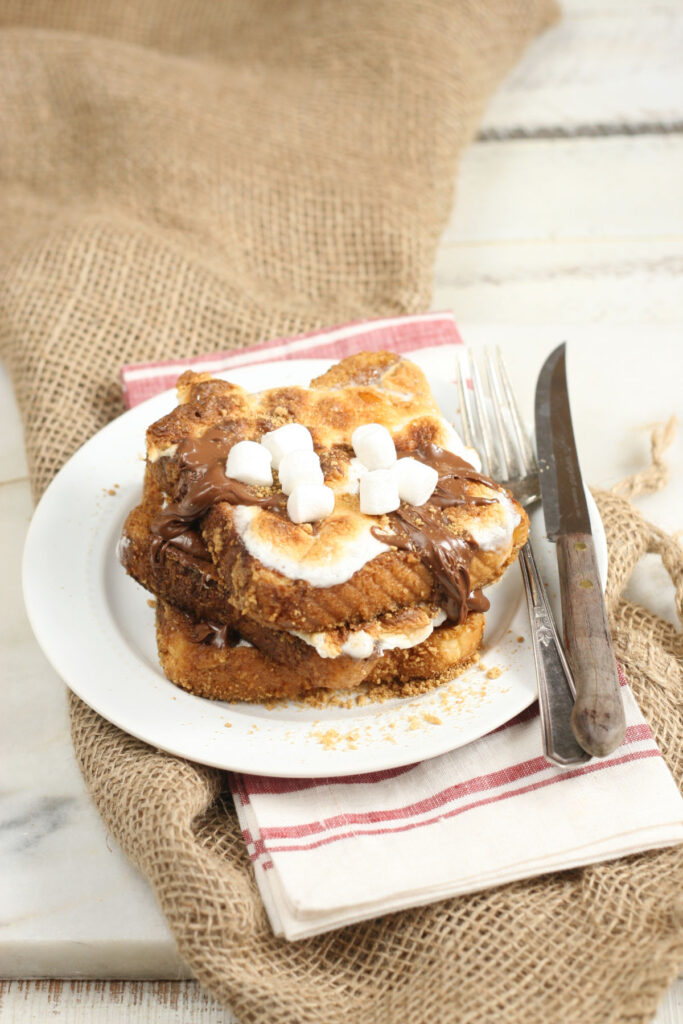 Smore French Toast with Nutella hazelnut spread