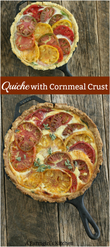 quiche with heirloom tomatoes layered on top in a circular pattern in a cast iron skillet