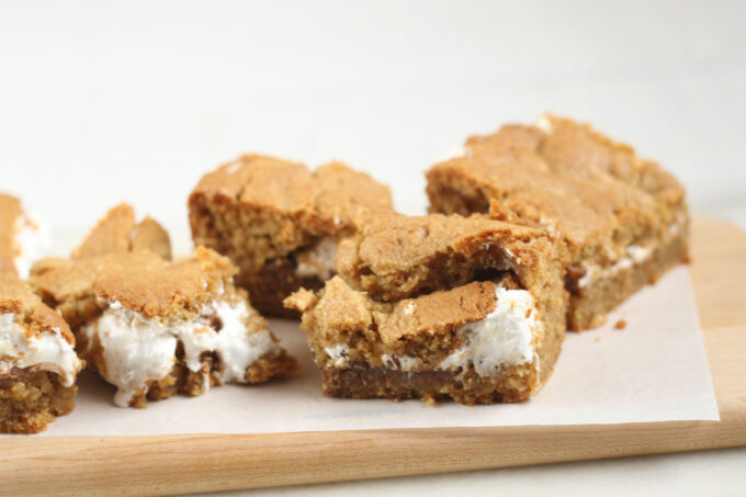 S'mores bars on a cutting board