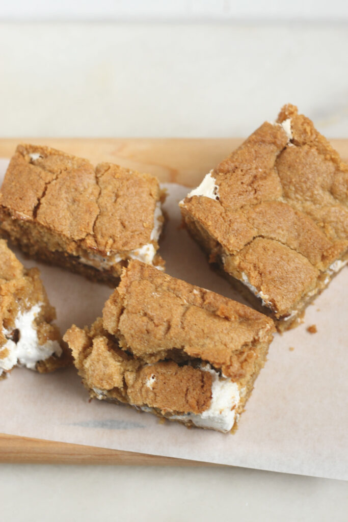 S'mores bars cut up on a cutting board