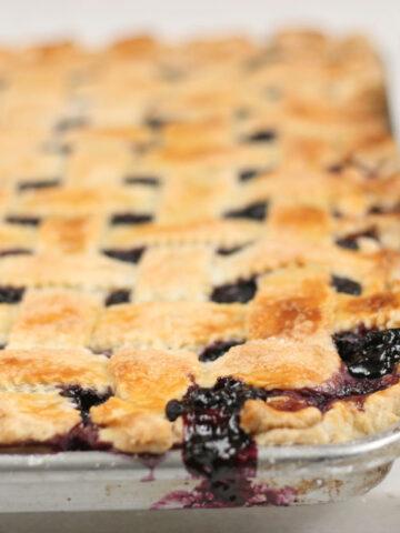 blueberry pie on a half sheet pan
