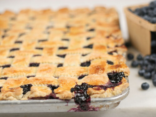 blueberry pie on a half sheet pan