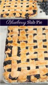 blueberry pie on half sheet pan with lattice crust