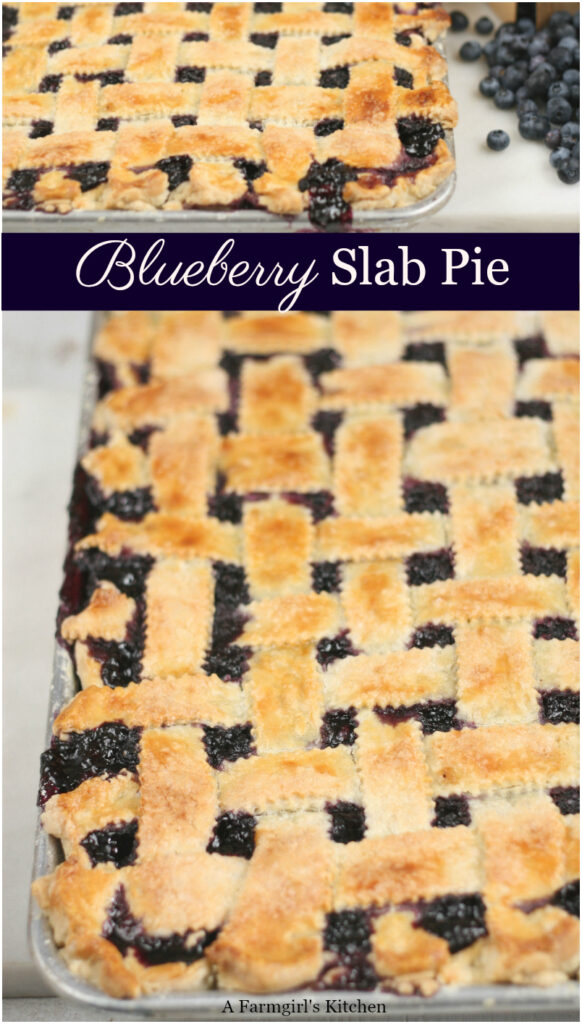 blueberry pie on half sheet pan with lattice crust
