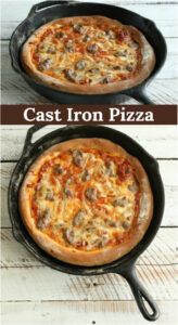 pizza in cast iron skillet