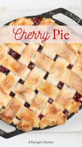 cherry pie in cast iron 2-handle skillet