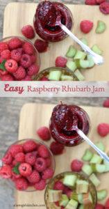 Raspberry jam on cutting board in glass jar. Raspberries and cut up rhubarb in glass bowls to side