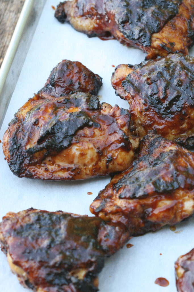 Barbecue chicken on sheet pan with homemade barbecue sauce