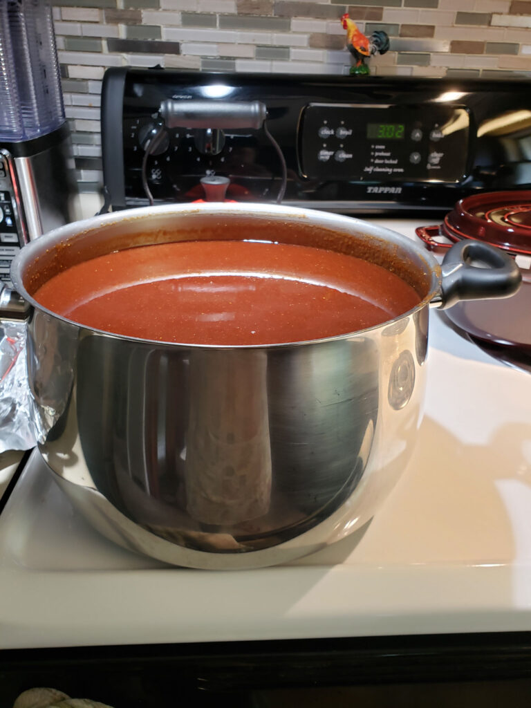 barbecue sauce in a large pot on the stovetop