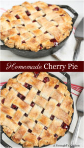 cherry pie in a cast iron skillet with lattice crust