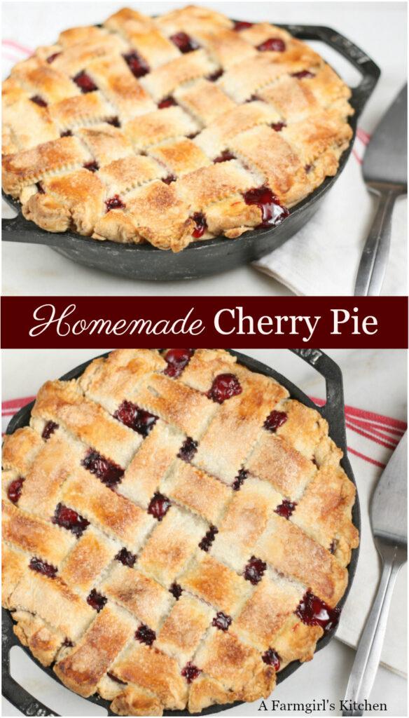 cherry pie in a cast iron skillet with lattice crust