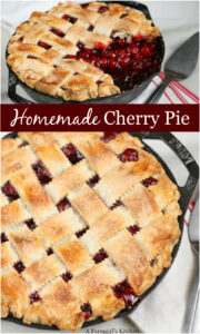 cherry pie with lattice crust in cast iron skillet
