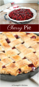 cherry pie in cast iron skillet with lattice crust