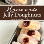 jelly donuts in metal loaf pan oozing raspberry jam