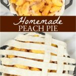 peach pie in a cast iron dual handle pan with lattice crust
