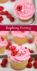 raspberry frosting on lemon cupcakes with fresh raspberry on top