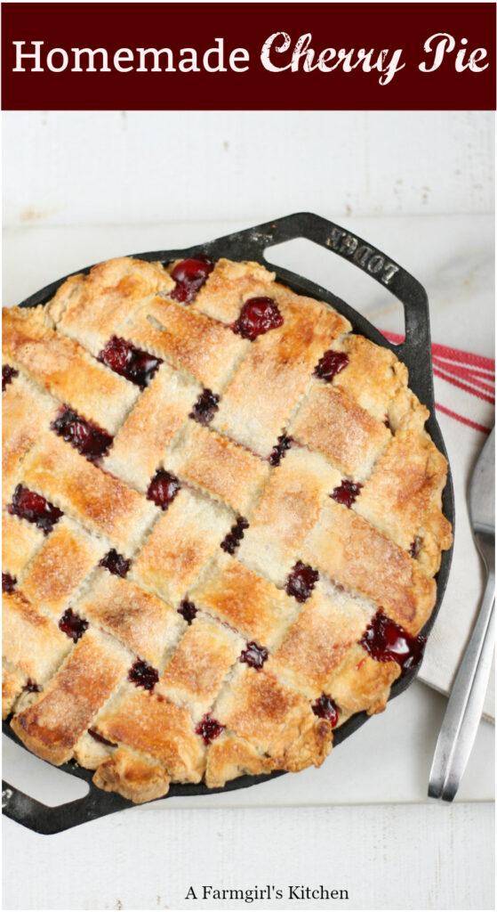 cherry pie in 2-handle cast iron skillet