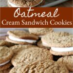 Oatmeal Cream sandwich cookies stacked on each other on a half sheet pan
