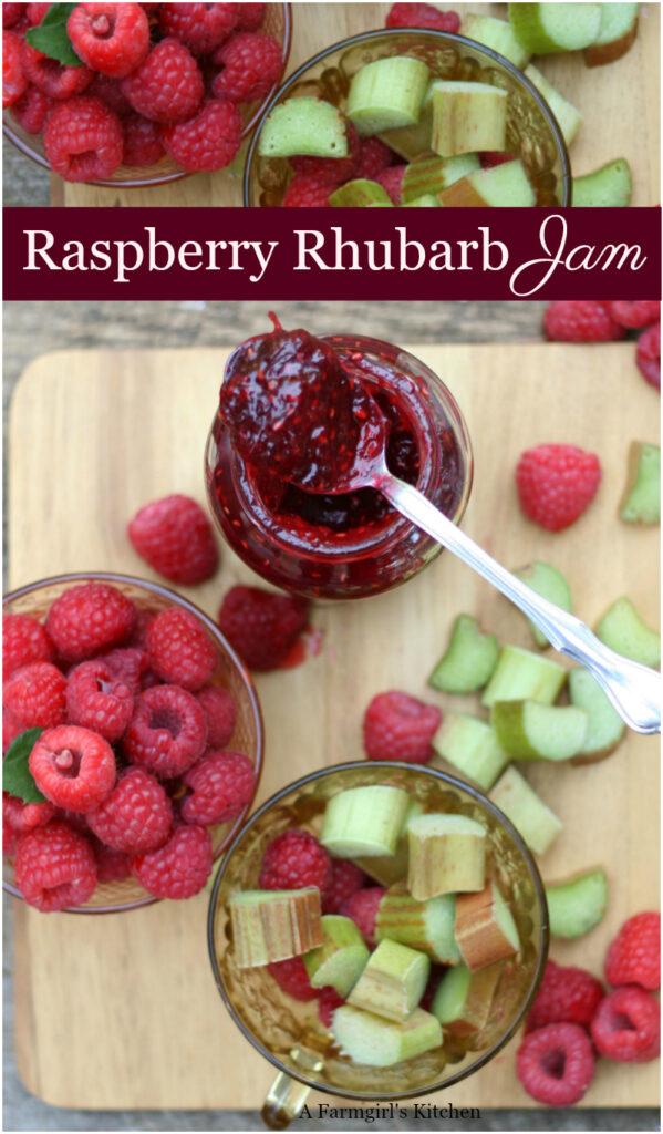 raspberry rhubarb jam in glass jar with spoon, raspberries and rhubarb pieces on wooden cutting board around jar