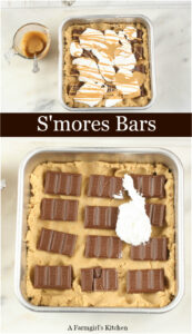 S'mores bars in a square baking pan