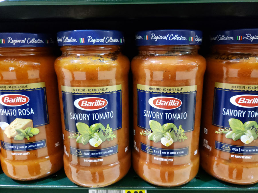Barilla Pasta sauce on store shelves in grocery store