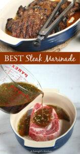 ribeye steak in a ceramic dish with marinade