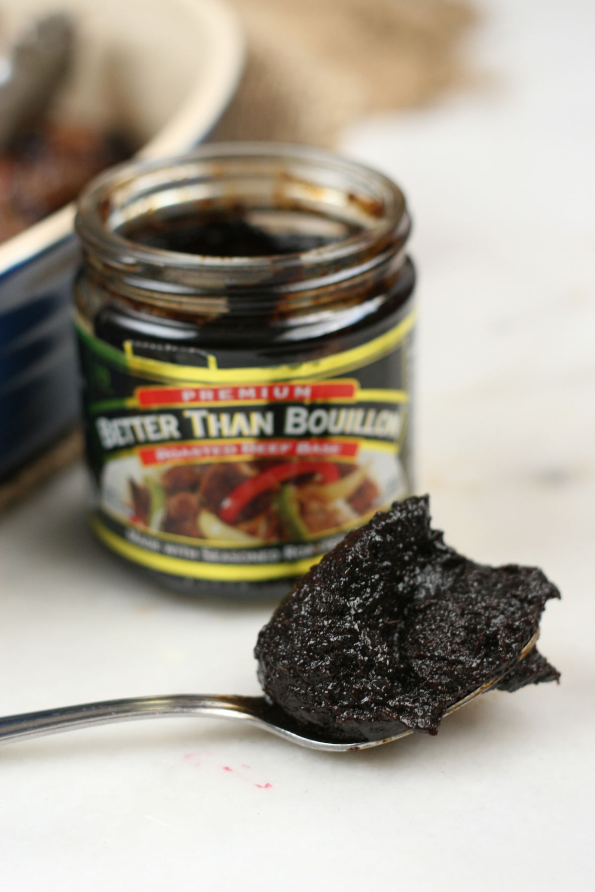 jar of better than bouillon with spoon.