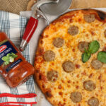 homemade pizza with sweet sausage