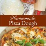 Italian pizza dough on butcher block resting