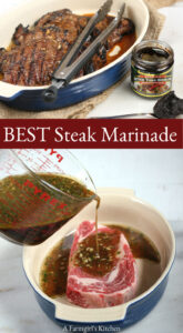 Pouring steak marinade over ribeye steak in oval ceramic baking dish