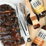 barbecue ribs on white serving plate, barbecue sauce to side