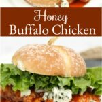 buffalo chicken sandwich with green leaf lettuce and chunks of blue cheese