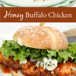 buffalo chicken on roll with leaf lettuce and chunks of blue cheese