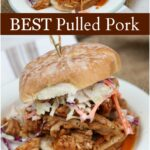 pulled pork sandwiches on hard rolls