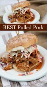 pulled pork sandwiches on hard rolls